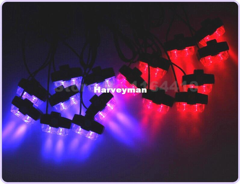 2*16 32 LED Car Truck taxi 32led 8 modes Grille strobe flash /warning/drl/daytime running light with control Red Blue Free Mail