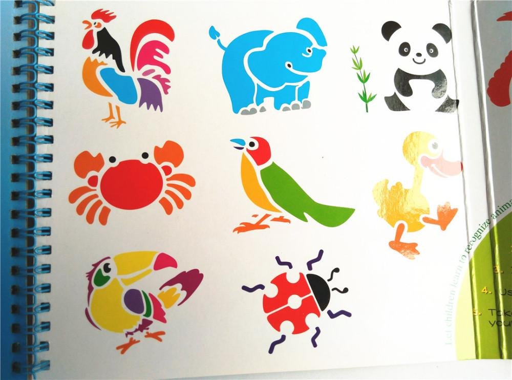 kids plastic stencils for painting book cartoon picture template for coloring animal dinosaur vehicles drawing toy