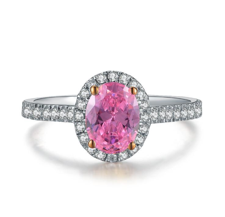Bohemian 2CT Pink Oval Cut Gepflasterte Synthetisches Diamant-Hochzeit weiblichen Ring-Körper-925 Sterlingsilber-Ring-weißes Gold überzog Schmuck