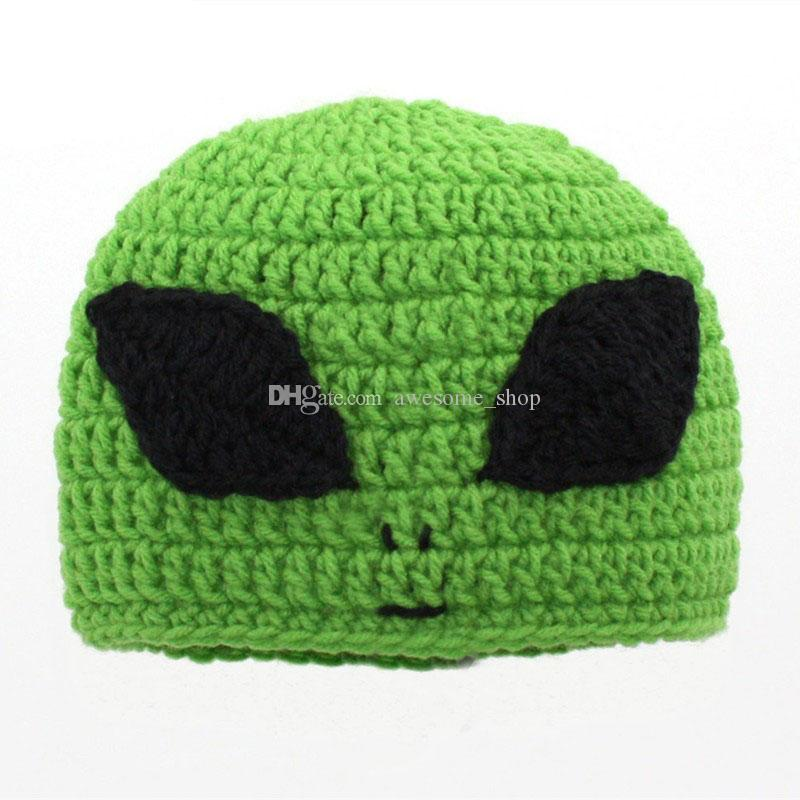 Novelty Character Green Alien Hat,Handmade Knit Crochet Baby Boy Girl Big Eye Alien Hat,Infant Winter Cap,Newborn Toddler Photo Prop