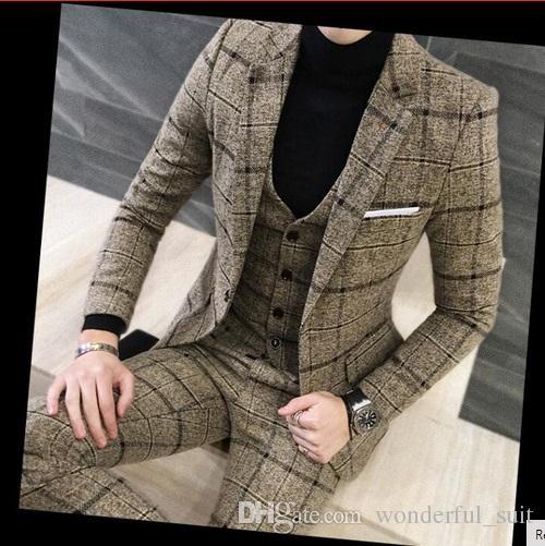 3 Piece Suits Men British Latest Coat Pant Designs Royal Blue Mens Suit Autumn Winter Thick Slim Fit Plaid Wedding Dress Tuxedos