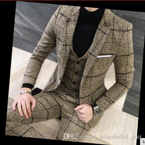 3 Piece Suits Men British Latest Coat Pant Designs Royal Blue Mens Suit Autumn Winter Thick Slim Fit Plaid Wedding Dress Tuxedos