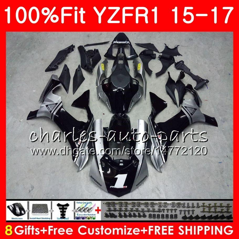 사출 성형기 YAMAHA YZF 1000 YZF R1 YZF-1000 YZF-R1 15 17 87HM7 YZF1000 YZF R1 15 16 17 YZFR1 2015 2016 2017 페어링 키트 블랙 실버