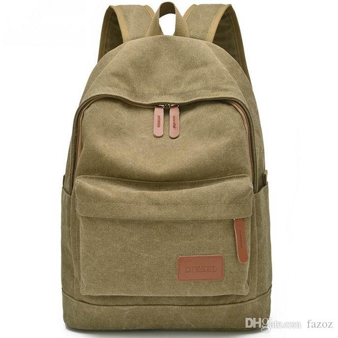 School Canvas Backpack Travel Rucksack Schoolbag Shoulder Bag Black Blue Khaki Laptop Backpack Travelpack For Women Men Wholesale