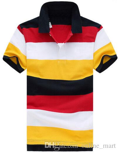 미국 스타일 레인보우 남성 스트라이프 T 셔츠 패션면 작은 말 자수 남성 미국 폴로 짧은 소매 클래식 폴로 셔츠 레드 옐로우
