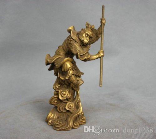 الصين أسطورة برونزية سون وو كونغ القرد الملك عقد عصا مكافحة تمثال