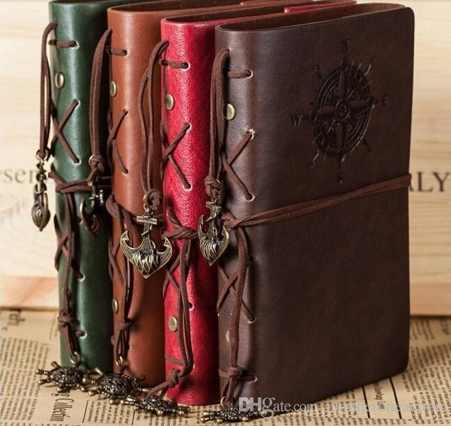 Spiral NoteBook Newest Diary Book Vintage Pirate Anchors PU leather Note Book Replaceable Xmas Gift Traveler Journal