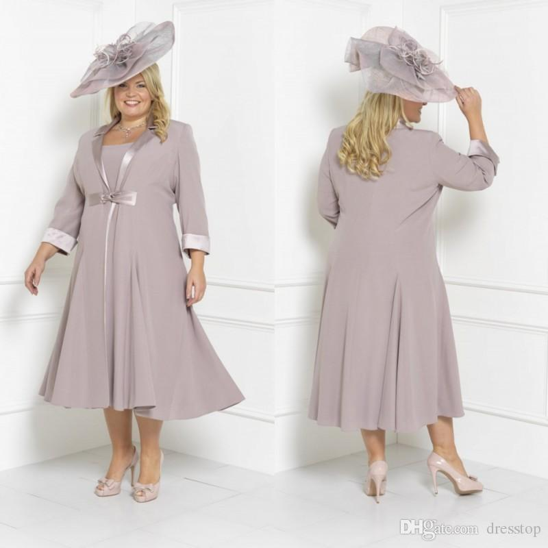 Plus Size Mother Of The Bride Dresses Sleeves Tea Length Scoop Neck Wedding  Guest Dress Custom Mothers Groom Gown With Free Long Jacket Long Sleeve ...
