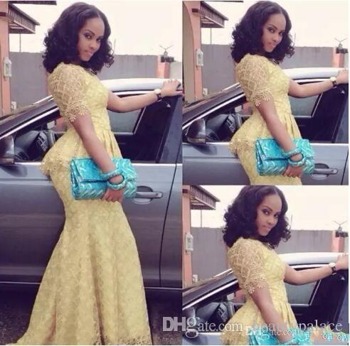 Vestido africano Vestido longo O cuello de manga corta sirena de longitud de piso vestido de baile amarillo encaje elegante estilo de estilo de estilo nigeria vestidos de noche