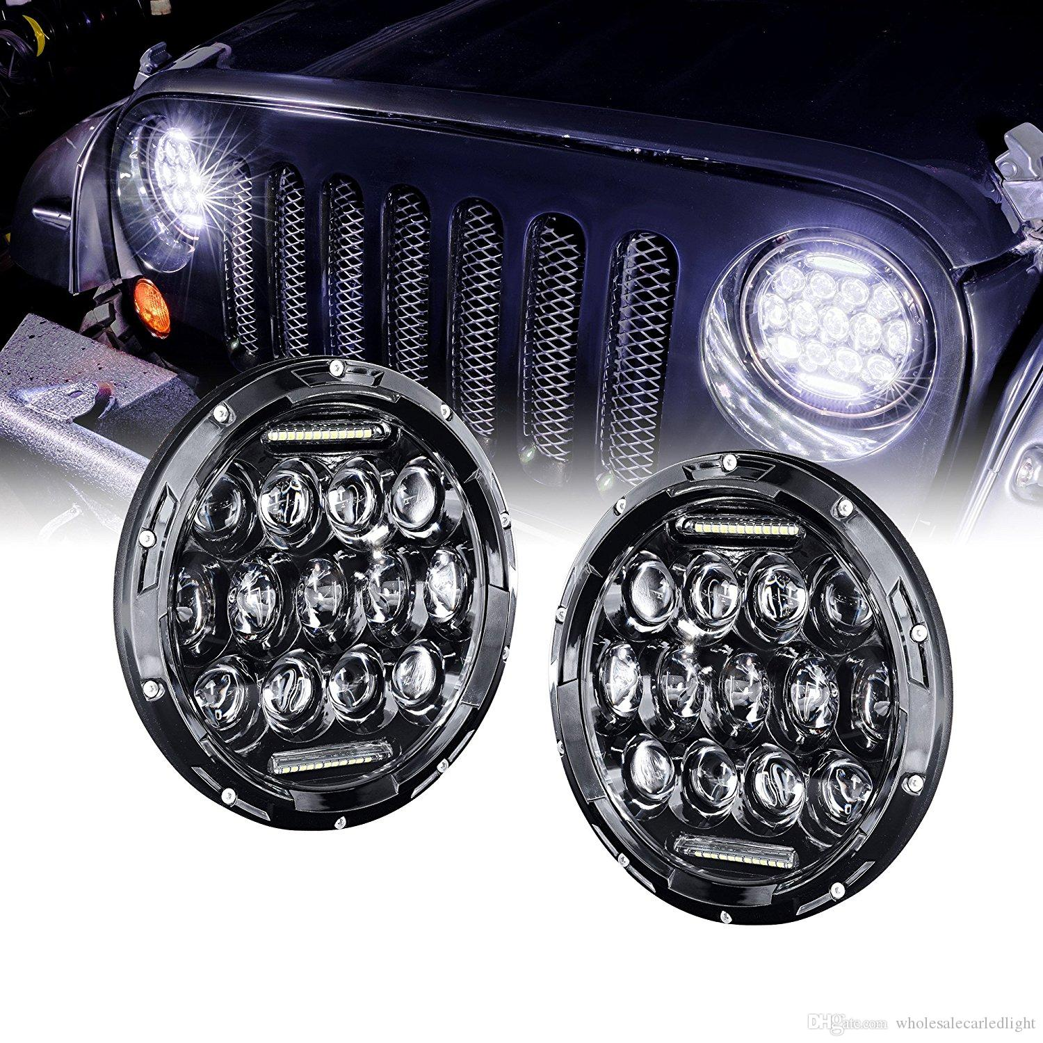 Jeep Jk Headlights >> 7 Inch Round Black Led Headlights With Drl For Jeep Wrangler Jk Tj Lada 4x4 7 Led Headlamp Motorcycle For Harley Davidson From Wholesalecarledlight