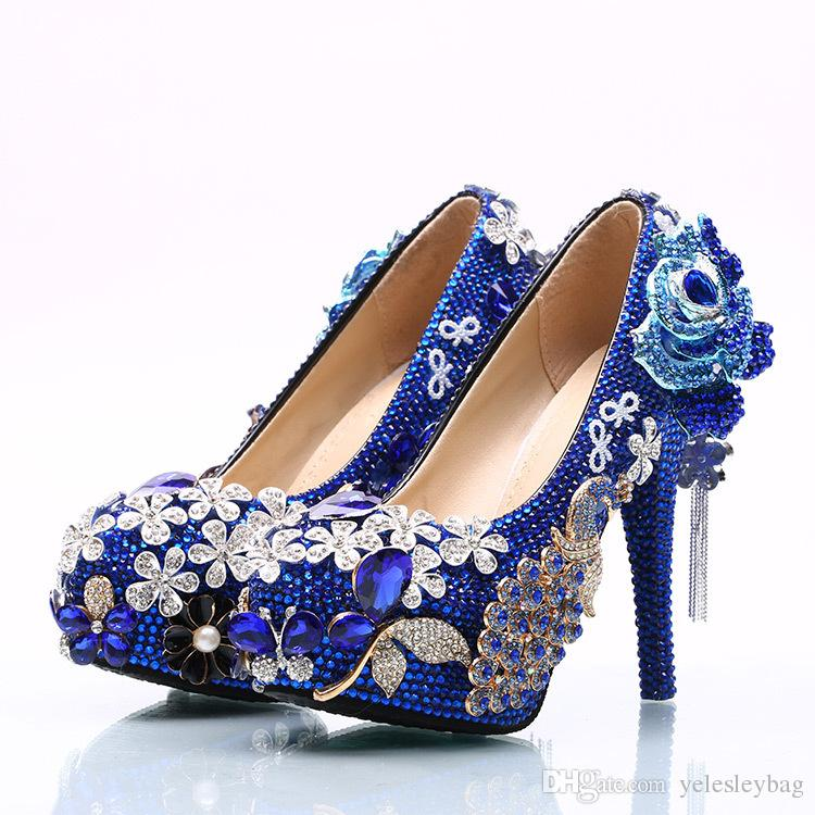 Lussuoso bowtie strass ultra tacco alto scarpe cristalli di perle abito da sposa scarpe belle scarpe per la sposa