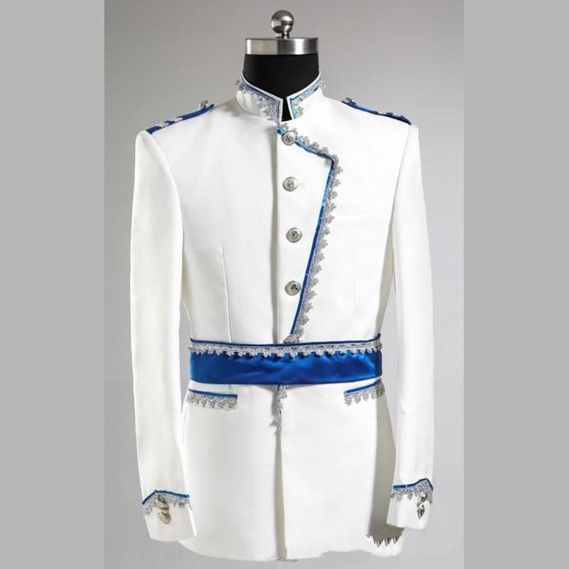 Al por mayor-Último Escudo Pant Designs blanco y azul del novio esmoquin Slim Fit Mens Wedding Prom Party Suits Bridegroom Traje Jacket + Pants
