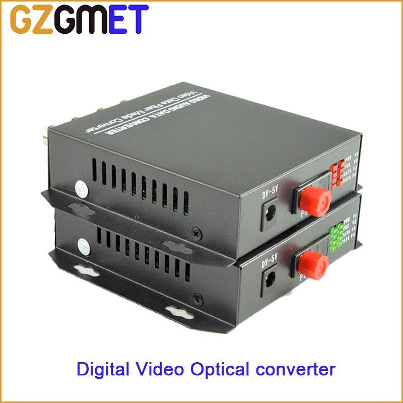 20Km 4CH Dijital tarih Video ses Optik dönüştürücü BNC FC tek fiber / mod fiber optik verici Alıcı dönüştürücü