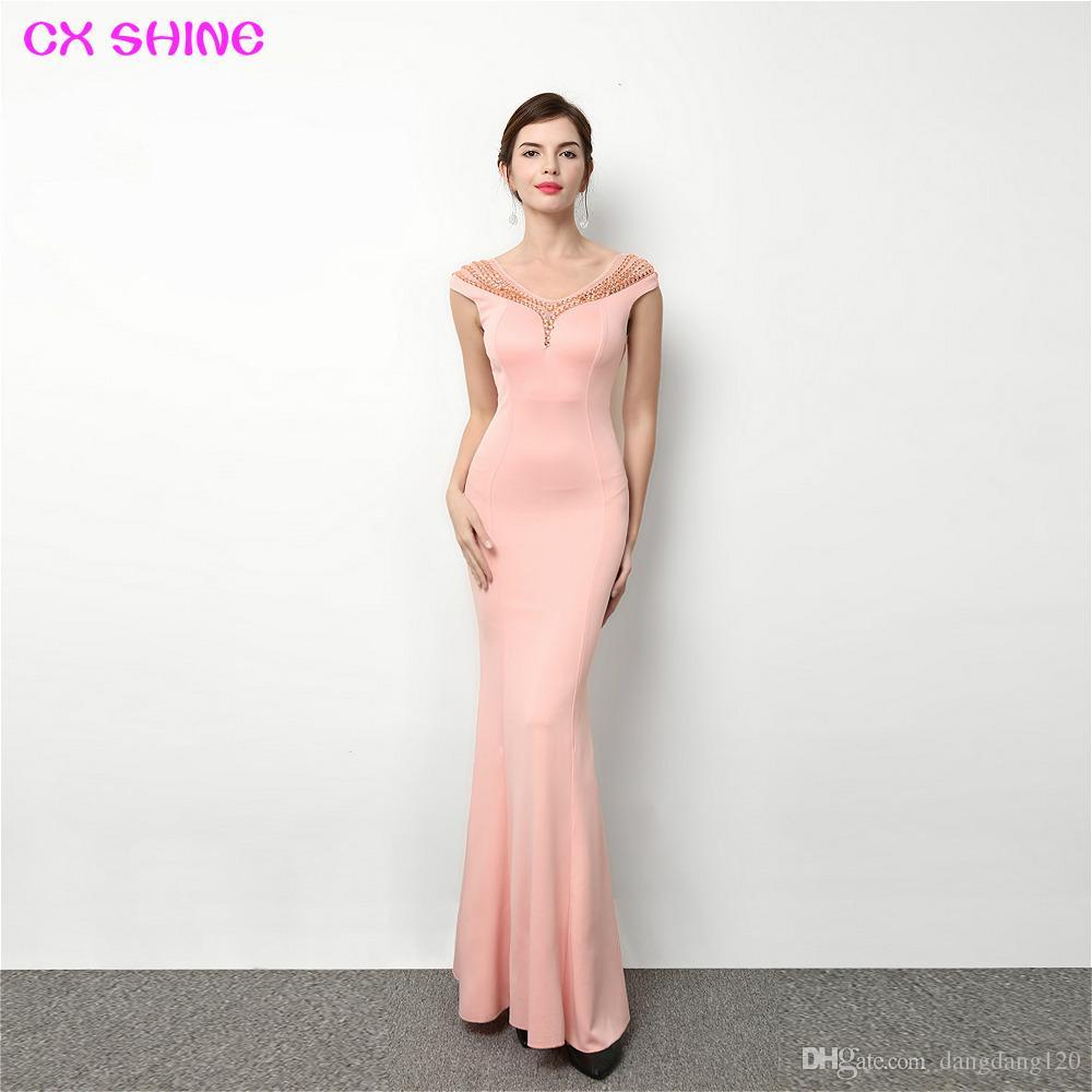 CX SHINE blue pink red black beading mermaid trumpet long evening dresses Elasticity robe de soiree long prom party dress Vestidos