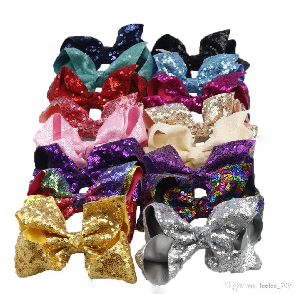16 Stile 6 pollici Rainbow Paillettes Paillette Purbine Bling Black Bows Capelli Clip Baby Girl Rainbow Bestie Jojo Archi