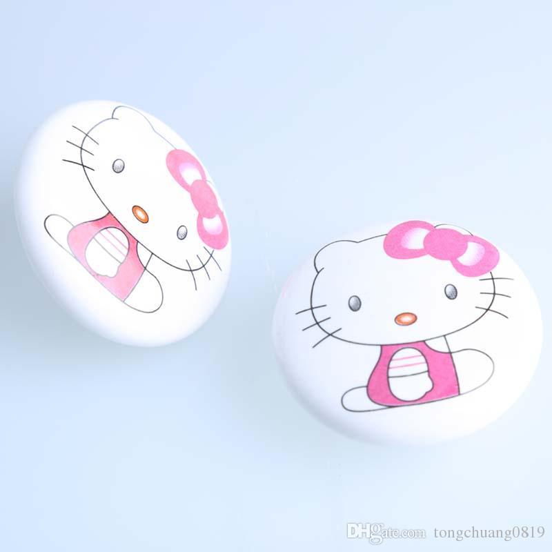 50mm bianco rosa gatto ceramica tiro in porcellana cassetto cassetto cassetto cabinet manopola per bambini per bambini mobili per bambini