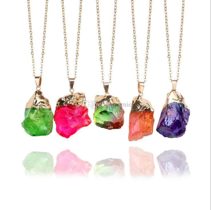 Mode Frauen Schmuck Sieben Überarbeitung Multicolor Farbe Naturstein Kristall Charme Anhänger Halskette