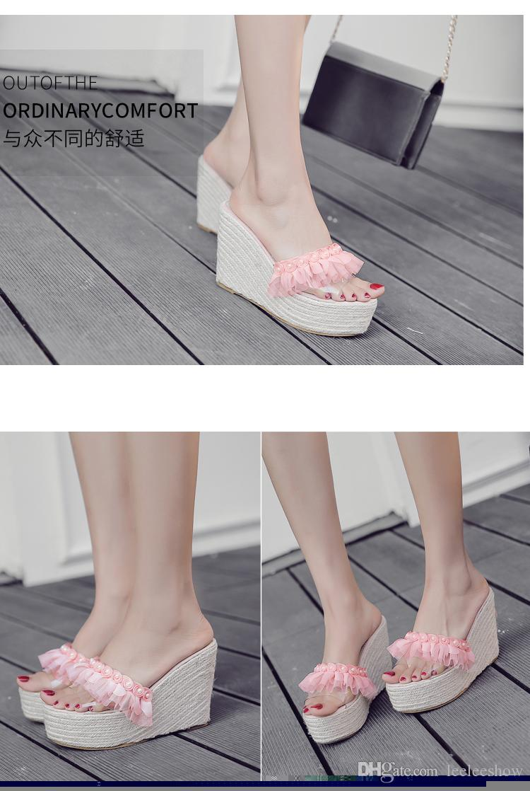 2017 Summer New Transparent Slope With Sandals Wild Thick Grass Strawberries With Waterproof Table Pearl Sandals outlet explore yl85lB
