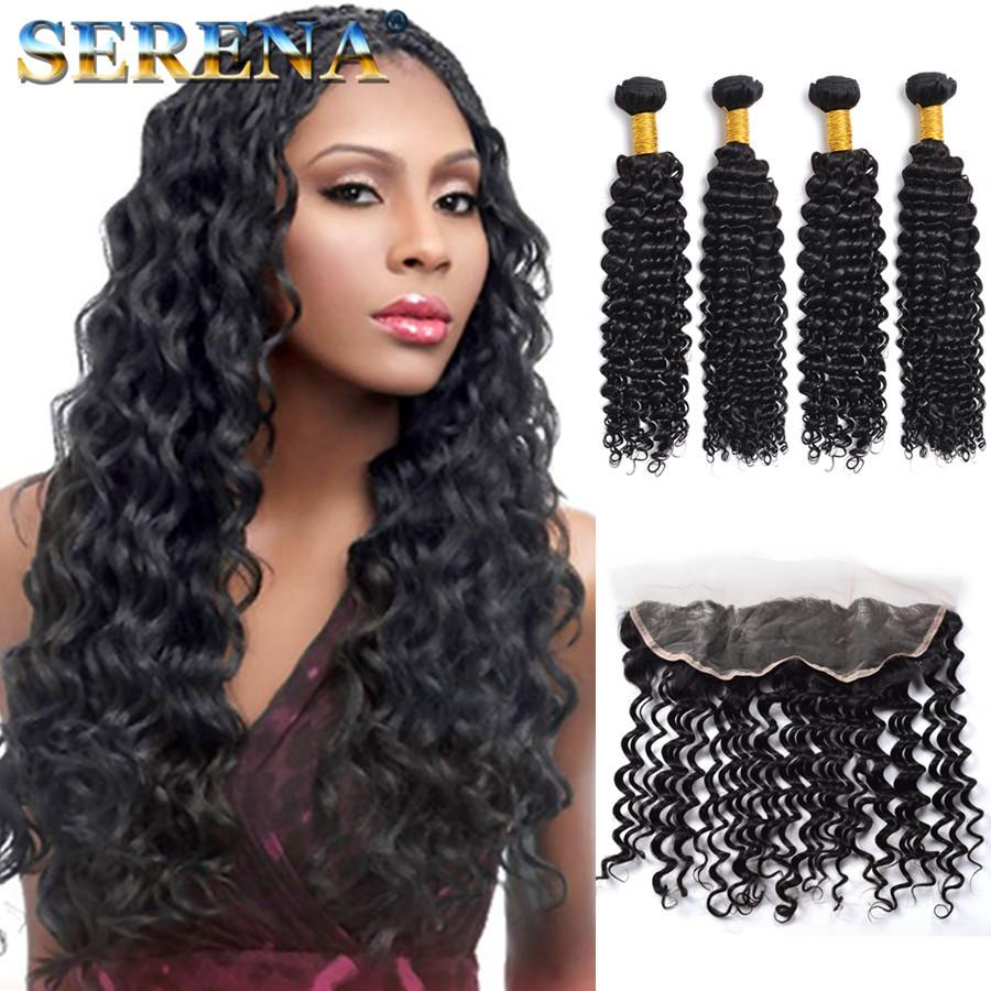 13x4 Ear to Ear Curly Lace Frontal Closure With Bundles 4pcs Cheap Deep Wave Malaysian Peruvian Hair Weaves and Front Lace Closure Pieces