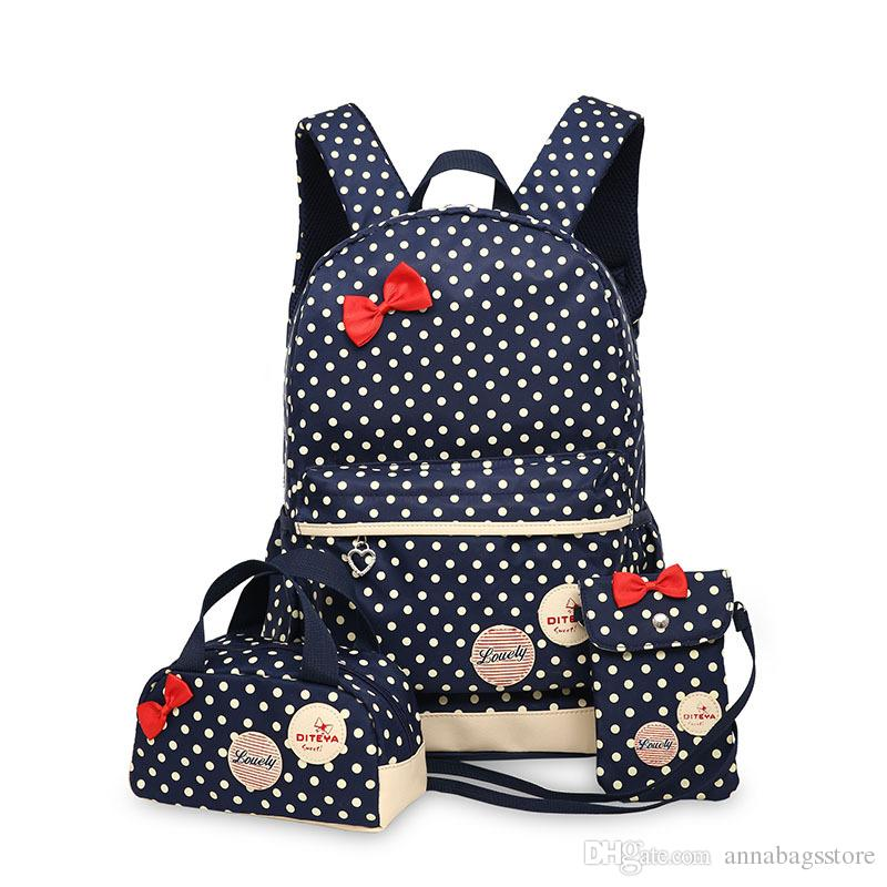 Hot Sale 3 Pcs/Set Cute Bow Wave Point Girl School Bags for Teenagers Backpack Set Women Shoulder Travel Bags Rucksack Mochila Knapsack
