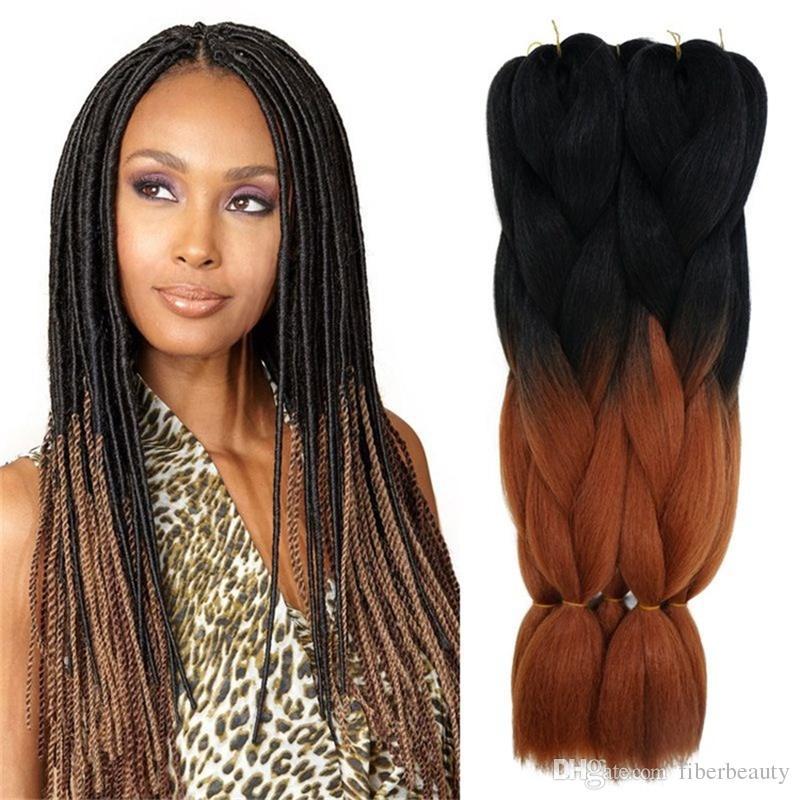 Ombre Kanekalon tranças Três tonificado Jumbo tranças 24 polegadas preto / roxo / azul kanekalon cabelo sintético granéis 32 cores