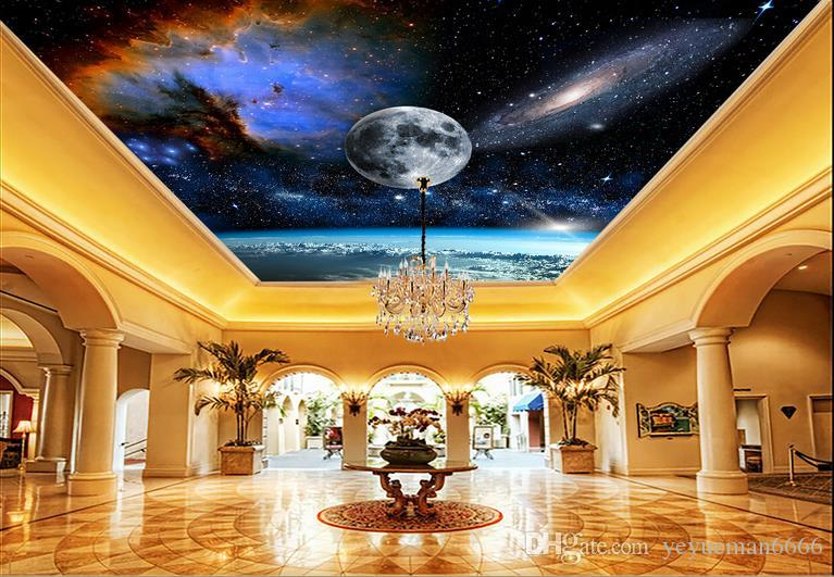 3d الجداريات السقف خلفية تخصيص خلفية للجدران 3 د سقف جدارية الإبهار الفضاء كوكب خلفيات سقف غرفة المعيشة