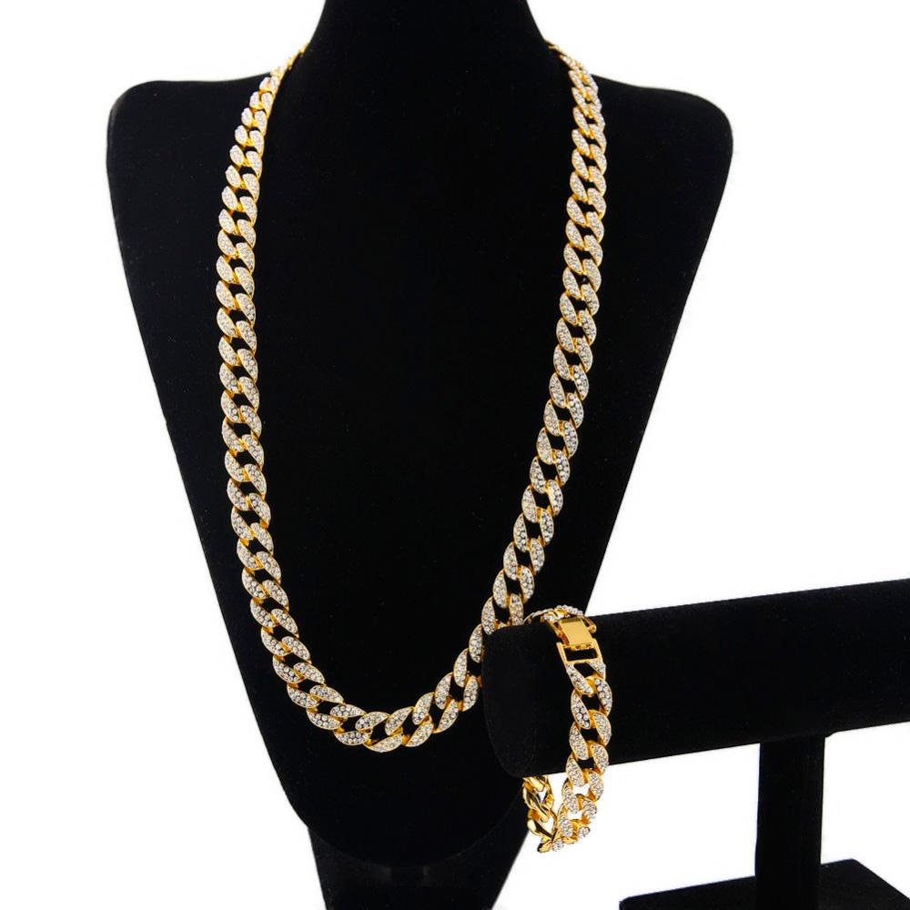 Hip Hop ICED OUT 18K Gold Plated Full Diamond Curb Cuban Link Chain Necklace & Bracelets 2pcs Jewelry Sets For Men Women