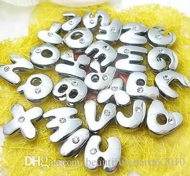 8mm 260pcs/lot A-Z One rhinestone alloy Slide letter fit for 8MM pet collar leather wristband bracelet