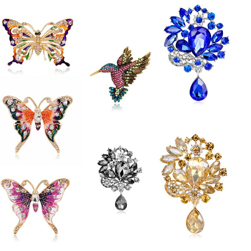 Wholesale Fashion Colorful Mental Flower Retro Bird Brooch Butterfly Crystal Women Girl Waterdrop Pendant Jewelry Gifts Brooch