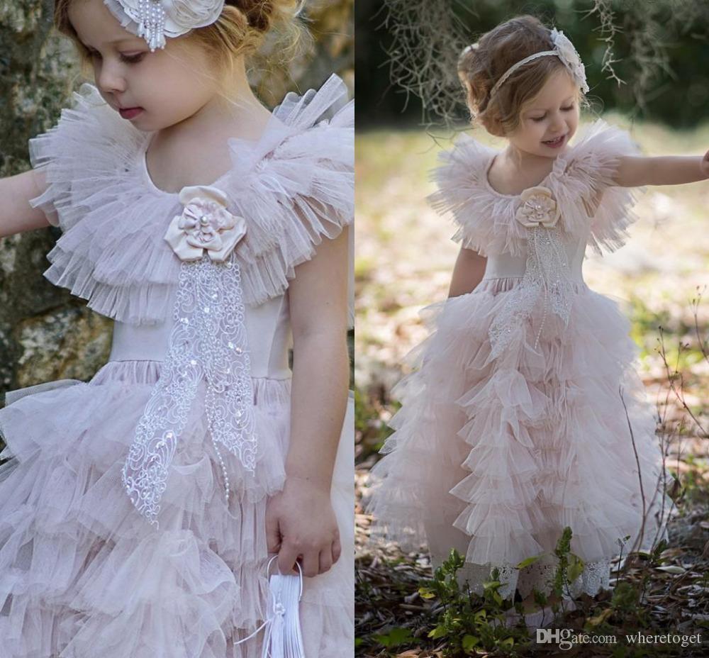 2019 Princesse Dentelle Fleur Fille Robes Rose Belle Fille Pageant Robes À Volants Tulle Doux Petits Enfants Robe De Fête D'anniversaire