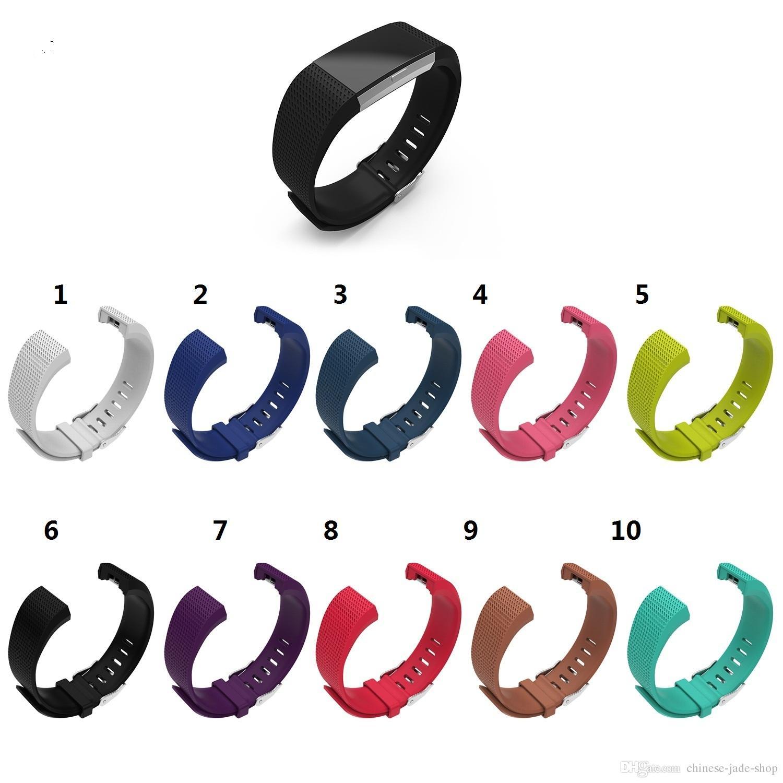 실리콘 교체 밴드 Fitbit 충전 2 손목 시계 스트랩 밴드 손목 밴드 스포츠 스트랩 10pcs / lot