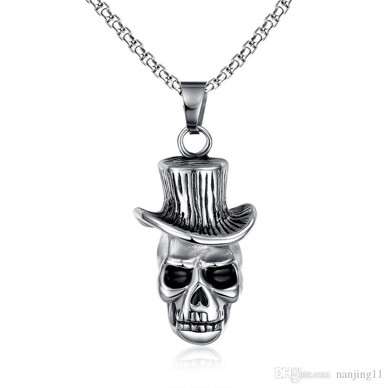 Men's Skull Wind Hat Gentleman Rock & Roll Cowboy Pendant Necklace Stainless Steel Vintage Punk Halloween Jewelry with 24inch PN-146