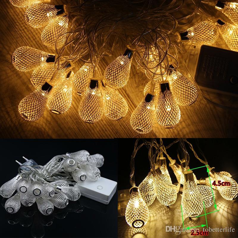 US EU metal string light led bulbs 110v 220v golden drip lights 3w led strings for indoor decoration wedding christmas party holiday lights