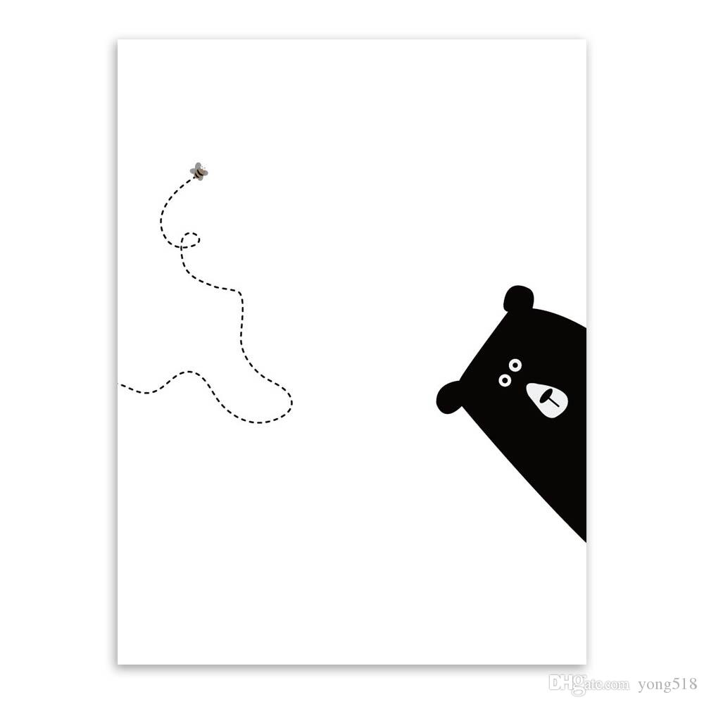 2021 Cute Bear Motivational Quotes Canvas A4 Art Prints Poster Black White Minimalist Wall Pictures Kids Room Decor Painting No Frame From Yong518 14 08 Dhgate Com