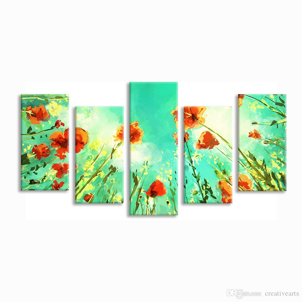Nature Scenery Painting Canvas Giclee Prints Modern Home Wall Decoration Unframed Canvas Print Art 5 pieces(20x40cmx4 20x55cmx1)