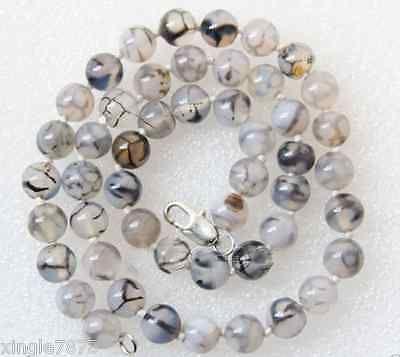 8mm Round White Black Dragon Veins Agate Gemstone Necklace 20inch