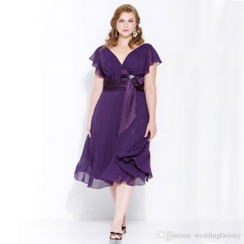Purple Chiffon Mother Of Bride Plus Size Dresses A Line V Neck Tea Length  Wedding Party Dress With Ruffled Sleeves Mother Groom Dress Mother Of Groom  ...