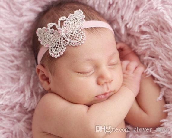 Banda Boutique hecho a mano de la mariposa pelo de las vendas para recién nacido del bebé muchachas de los niños del pelo Accesorios headwraps ahueca hacia fuera
