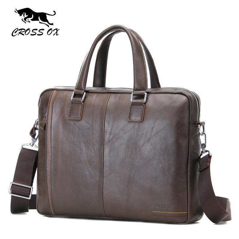 Großhandel-CROSS OX 2017 Frühjahr neue Ankunft Herren Satchel Handtasche Umhängetaschen für Männer Echtes Leder Wachs Leder 15 'Laptop-Tasche HB564M