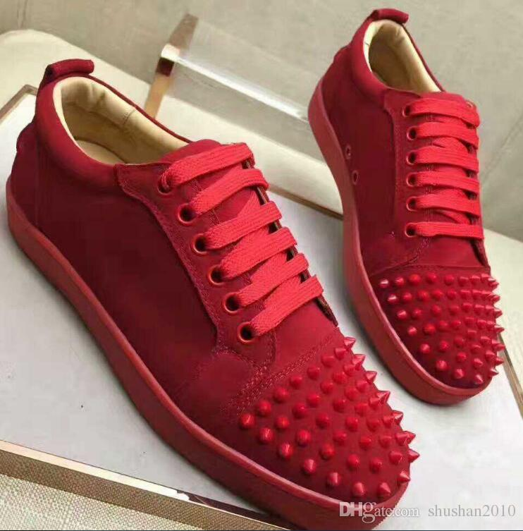 quality design 3d04a b6403 Designer Sneakers Men Luxury 2017 Low Top Red Suede Leather Flat Red Bottom  Shoes For Men Spikes Brand Casual Shoes 36 47 Scholl Shoes Leopard Print ...