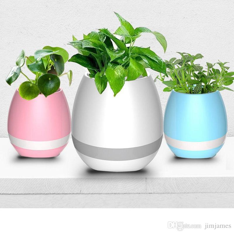 20pcs Creative Music Vase Smart Music Flowerpot Wireless Bluetooth Speaker K3 Intelligent Plant Piano Music with Colorful LED Night Light