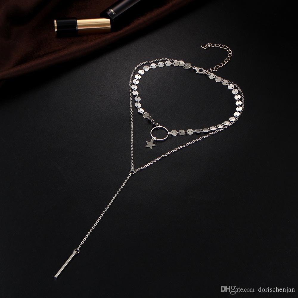 Collane gioielli in lega catena di diamanti multistrato lungo collane per le donne uomini perline stringa nappa barra di metallo a strati collana catena d'oro