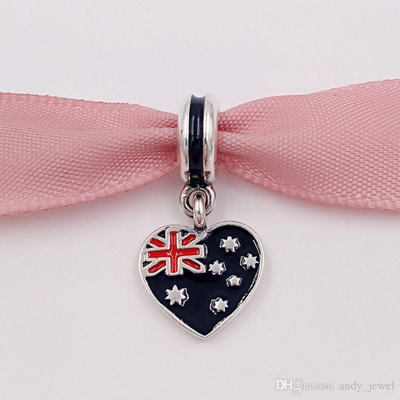 925 Branelli in argento Bandiera australiana cuore cuore argento ciondolo fascino adatti braccialetti in stile Pandora europeo collana per gioielli che fa 791415enmx