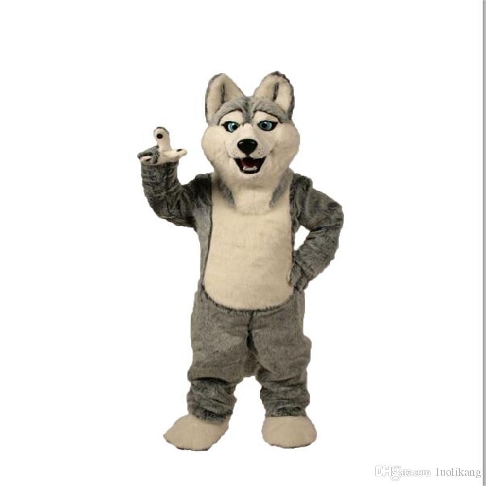 2016 Fantaisie Gris Chien Husky Chien Avec L'apparence De Loup Mascot Costume Mascotte Adulte Cartoon Caractère Partie Livraison Gratuite