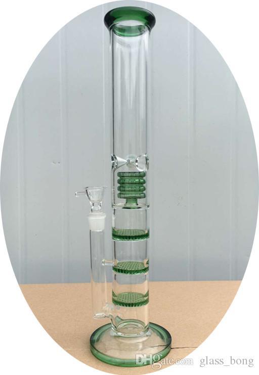 Yüksek kaliteli cam su boruları cam bong klasik 3 katmanlı petek ve birdcage yüzde petrol kuleleri cam nargile