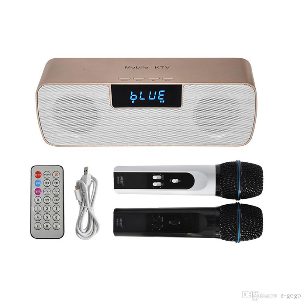 Micr/ófono inal/ámbrico de karaoke Bluetooth de mano para el hogar KTV al aire libre Muisc jugar cantando en cualquier momento dorado
