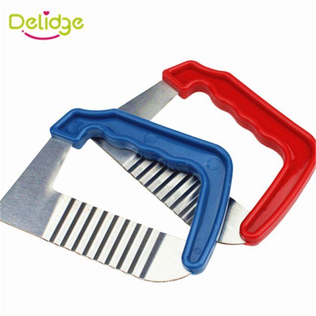Delidge 1 pc Wave Potato Cutter Stainless Steel Vegetable Slicer Dough Crinkle Knife For Potato Pastry DIY Handmade Soap Knife