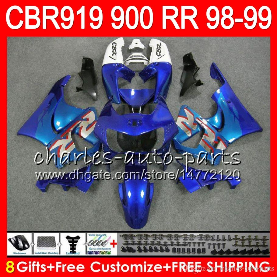 Body For HONDA CBR 919RR CBR900RR CBR919RR 1998 1999 Glossy blue 68NO31 CBR 900RR CBR919 RR CBR900 RR CBR 919 RR 98 99 Fairing kit 8Gifts