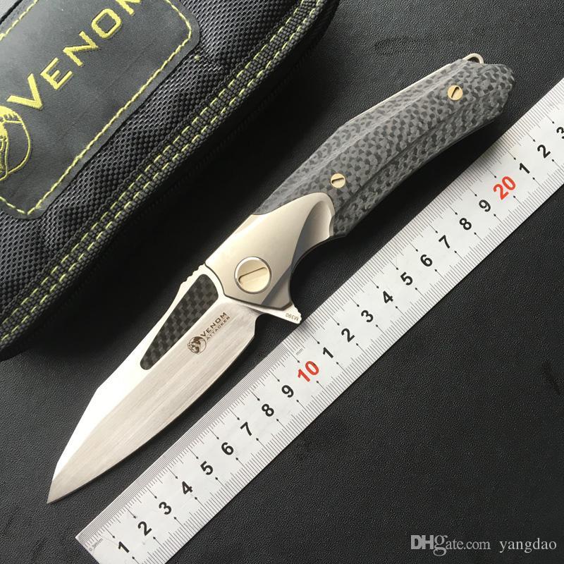 Кевин Джон Яом злоумышленник складной шарикоподшипник Flipper нож M390 Titanium углеродного волокна лагерь охота на выживание наружные ножи инструменты
