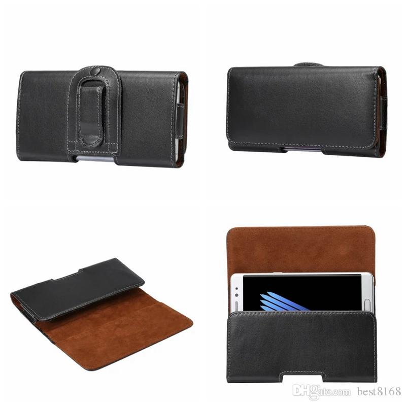 Real Genuine Hip General Leather Clip For Iphone 11 XR XS MAX X 7/Plus/6 6S SE Galaxy Note 10 S10 s10e Cover Horizontal Holster Flip Pouch